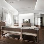 Projekty architekt wnętrz -  salon loftowy biały
